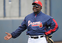 13 April 2008: Coach Kent Willis of the Atlanta Braves minor league organization prior to a game against the Mobile BayBears at Trustmark Park in Pearl, Miss. Photo by: Tom Priddy/Four Seam Images